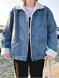 economico -Giacca di jeans Da donna Casual Semplice Inverno Autunno,Tinta unita Colletto Pelliccia di agnello Corto Maniche lunghe