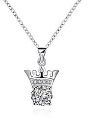 Недорогие -Жен. Гипоаллергенный В форме короны Цирконий Циркон Серебрянное покрытие Ожерелья с подвесками Ожерелья-цепочки - Гипоаллергенный Мода