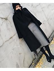 Недорогие -Для женщин Повседневные На выход Зима Осень Пальто Рубашечный воротник,На каждый день Однотонный Обычная Длинные рукава,Шерсть
