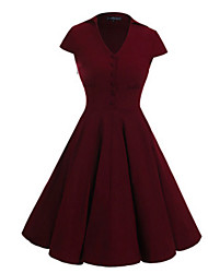 cheap -Women's A Line Swing Dress - Solid, Mesh V Neck