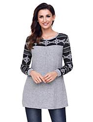 preiswerte -Damen Einfarbig Street Schick Ausgehen Lässig/Alltäglich T-shirt,Rundhalsausschnitt Winter Langärmelige Polyester Elasthan Undurchsichtig