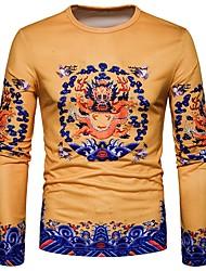 cheap -Men's T-shirt Print Round Neck