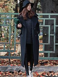 economico -Cappotto Lungo Per donna Quotidiano Casual Inverno Autunno, Tinta unita A V Poliestere Con perline Oversized