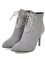 baratos -Mulheres Sapatos Pele Nobuck Outono / Inverno Conforto / Inovador / Curta / Ankle Botas Salto Alto Dedo Apontado / Ponta Redonda Botas