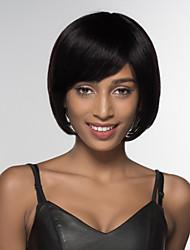 Недорогие -Человеческие волосы без парики Натуральные волосы Прямой Боковая часть Средние Машинное плетение Парик Жен.