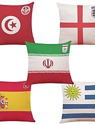 cheap -5 pcs Linen Natural/Organic Cotton/Linen Pillow Cover, Art Deco National Flag