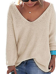 cheap -Women's Long Sleeves Pullover - Solid Colored V Neck