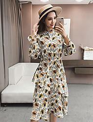 Women's Casual/Daily Street chic Sheath Dress,Floral Shirt Collar Midi Long Sleeve Polyester Winter Fall High Waist Inelastic Opaque
