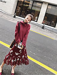 cheap -Women's Daily Casual Swing Dress,Floral Round Neck Midi Long Sleeve Silk Fall High Waist Micro-elastic Thin