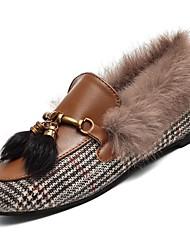 Feminino Sapatos Couro Ecológico Inverno Outono Conforto Mocassins e Slip-Ons Sem Salto Ponta Redonda para Casual Preto Marron