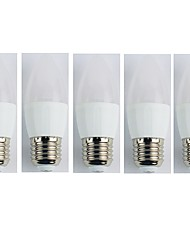 cheap -5pcs 4W E27 LED Candle Lights C35L 6 leds SMD 3528 Cold White 320lm 6400K AC 180-240V