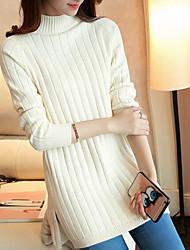Standard Pullover Da donna-Casual Semplice Tinta unita Girocollo Maniche lunghe Misto lana Inverno Autunno Spesso strenchy
