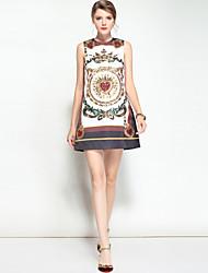 abordables -Femme Bohème Trapèze Robe - Imprimé