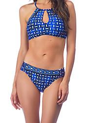 billige Badedrakter og bikinier-Dame Bikinikjole Badetøy Sexy Trykt mønster Grime Blå