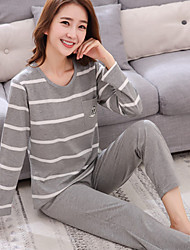 cheap -Women's Suits Pajamas,Print Print Cotton Light gray