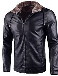 cheap -Men's Casual Punk & Gothic Plus Size Leather Jacket-Solid Colored Hooded