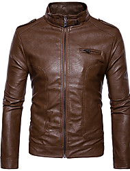 cheap -Men's Casual/Daily Simple Winter Fall Leather Jacket,Solid Shirt Collar Long Sleeve Regular Others Tassel