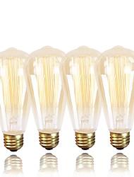 abordables -4pcs 60W E26/E27 ST64 Blanc Chaud 2200 K Rétro Intensité Réglable Décorative Ampoule incandescente Edison Vintage AC 100-240 V