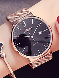 cheap -Women's Unisex Wrist watch Dress Watch Fashion Watch Japanese Quartz Calendar / date / day Stainless Steel Band Minimalist Cool Black