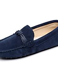 abordables -Femme Chaussures Cuir Printemps Eté Moccasin Mocassins et Chaussons+D6148 Talon Bas Bout rond pour De plein air Noir Bleu de minuit