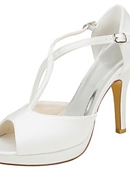 cheap -Women's Shoes Stretch Satin Summer Basic Pump Wedding Shoes Stiletto Heel Peep Toe Buckle Ivory / Party & Evening