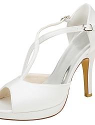 abordables -Femme Chaussures Satin Elastique Eté Escarpin Basique Chaussures de mariage Talon Aiguille Bout ouvert Boucle Ivoire / Soirée & Evénement