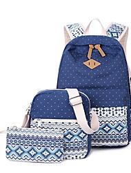 baratos -Mulheres Bolsas Tela de pintura Conjuntos de saco 3 Pcs Purse Set Estampa Preto / Rosa / Khaki