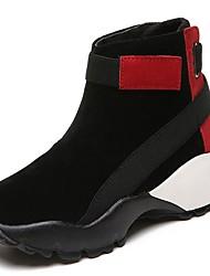 Недорогие -Для женщин Обувь Искусственное волокно Зима Армейские ботинки Ботинки На низком каблуке Круглый носок Сапоги до середины икры для