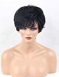 cheap -Natural Wave Layered Haircut Machine Made Human Hair Wigs Side Part Short Natural Black Medium Auburn Beige Blonde//Bleach Blonde