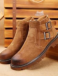 baratos -Homens sapatos Couro de Porco Outono / Inverno Coturnos Botas Botas Curtas / Ankle Preto / Cinzento / Amarelo