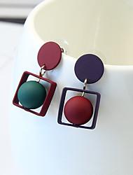 preiswerte -Damen Nicht übereinstimmen Ohrstecker - Einfach Nicht übereinstimmen Modisch Rot Geometrische Form Ohrringe Für Alltag