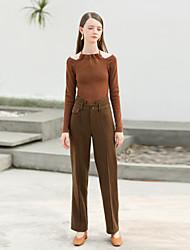 levne -Dámské Vintage Rovné Kalhoty Proužky High Rise