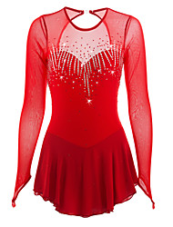 abordables -Robe de Patinage Artistique Femme Fille Patinage Robes Rouge Spandex Strass Haute élasticité Utilisation Tenue de Patinage Fait à la main