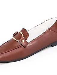 cheap -Women's Shoes PU Winter Fall Comfort Loafers & Slip-Ons Flat Round Toe for Casual Wine Black