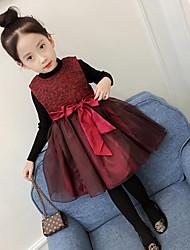 Menina de Vestido Diário Para Noite Sólido Estampado Inverno Outono Algodão Poliéster Sem Manga Fofo Princesa Preto Vermelho