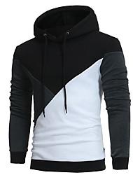 Herrer Afslappet/Hverdag I-byen-tøj Hattetrøje Farveblok Hætte Polyester Mikroelastisk Langærmet Vinter Efterår