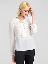 cheap -Women's Going out Blouse - Solid Colored V Neck / Lace up