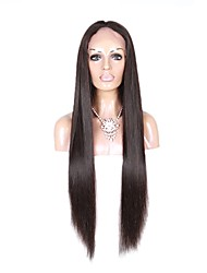 cheap -Long Silk Straight Natural Color Lace Front Human Virgin Hair Lace Wig with Baby Hair