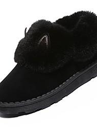 Недорогие -Жен. Обувь Кашемир Зима Зимние сапоги Ботинки На низком каблуке Круглый носок Сапоги до середины икры Пух для Повседневные Черный