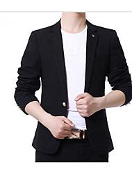 cheap -Men's Daily Casual Spring Fall Regular Blazer, Solid Peaked Lapel Polyester