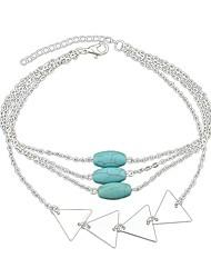 abordables -Mujer Turquesa Geométrico Cadenas y esclavas - Simple, Moda Pulseras y Brazaletes Dorado / Plata Para Diario / Cita