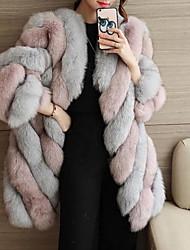 Недорогие -Жен. На выход Зима Осень Большие размеры Обычная Пальто с мехом Лацкан с тупым углом, Уличный стиль Контрастных цветов Искусственный мех