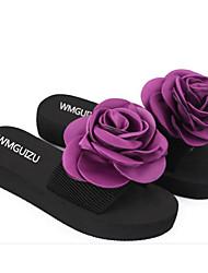 Feminino Sapatos Pele PVC Primavera Verão Conforto Sandálias Salto Baixo para Casual Prata Roxo Azul