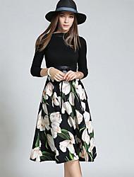 Feminino Bainha Vestido,Casual Simples Listrado Floral Decote Redondo Altura dos Joelhos Manga Comprida Modal Primavera Outono Cintura