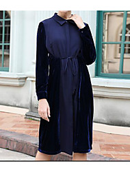 cheap -Women's Casual/Daily Simple Loose Dress,Color Block Shirt Collar Knee-length Long Sleeve Polyester Fall High Waist High Elasticity Opaque