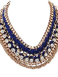 cheap -Women's Oversized Rhinestone Imitation Diamond Harness Necklace  -  Classic Oversized Fashion Irregular Dark Blue Red Necklace For Gift