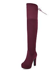 preiswerte -Damen Schuhe Nubukleder Herbst / Winter Modische Stiefel / Slouch Stiefel Stiefel Stöckelabsatz Runde Zehe Übers Knie Schwarz / Blau /