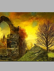cheap -Hand-Painted Natures & Outdoors Horizontal,Rustic Canvas Oil Painting Home Decoration One Panel