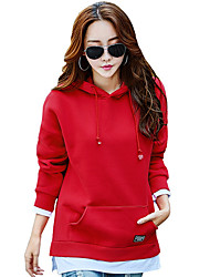cheap -Women's Plus Size Going out Street chic Hoodie Solid Hooded Without Lining Stretchy Polyester Long Sleeve Fall/Autumn