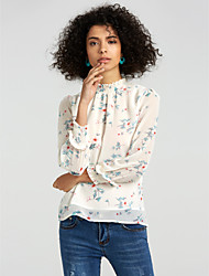 cheap -Women's Daily Going out Casual Winter Fall Blouse,Solid Floral Stand Long Sleeves Polyester Medium